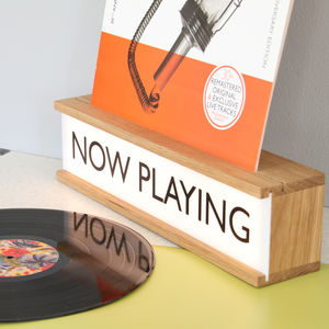Personalised Vinyl Cover Holder Wooden Lightbox - music fans