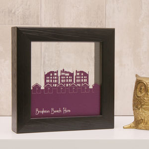 Brighton Beach Huts Mini Papercut