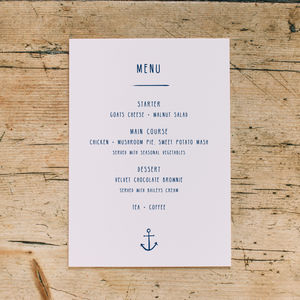 Nautical Anchor Wedding Menu Cards - what's new