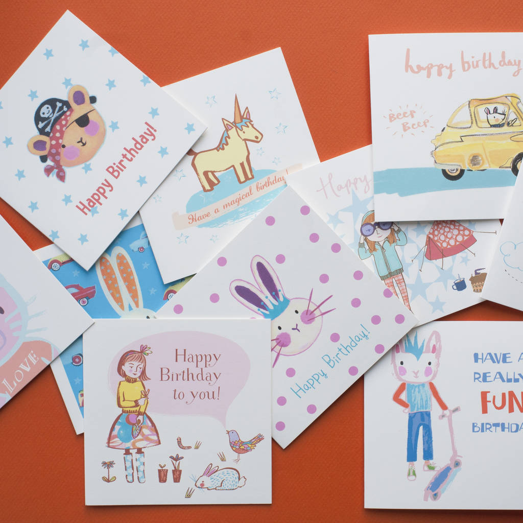 Multipack of childrens birthday cards by inkpaintpaper multipack of childrens birthday cards bookmarktalkfo Images