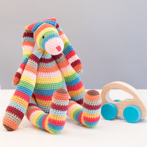 Striped Bunny Toy - gifts: under £25