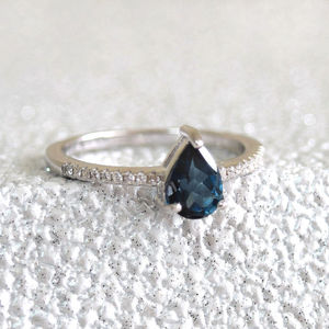 Sterling Silver Teardrop London Blue Topaz Ring - rings