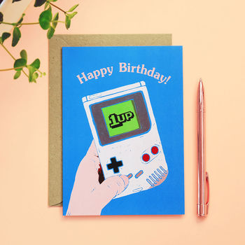 1 Up Gameboy Birthday Card