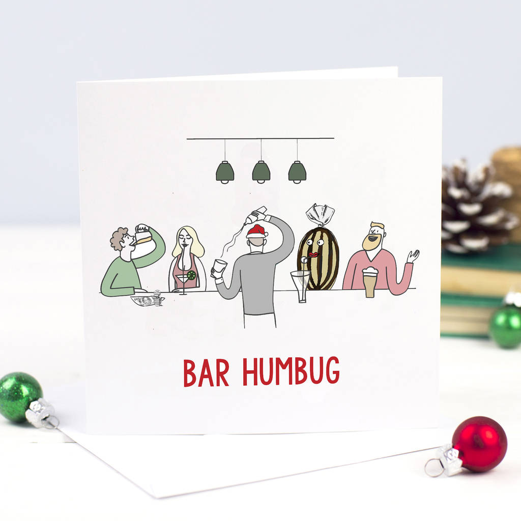 Funny Christmas Picture.Bar Humbug Funny Christmas Card