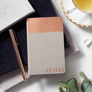 Hand Printed Copper Moleskine Personalised Notebook - writing