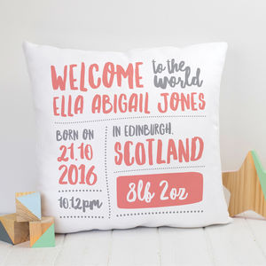 Personalised New Baby Gift Nursery Cushion - cushions