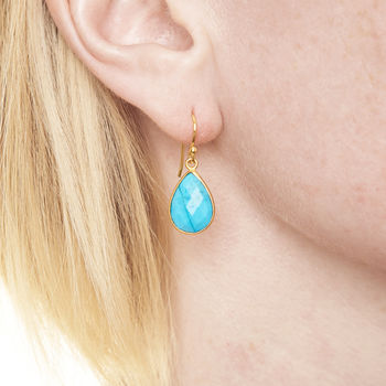 Ashiana Gold And Turquoise Earrings