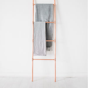 Copper Pipe Blanket And Towel Display Ladder - bedroom