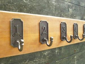 Train Station Inspired Vintage Coat Rack - hooks, pegs & clips