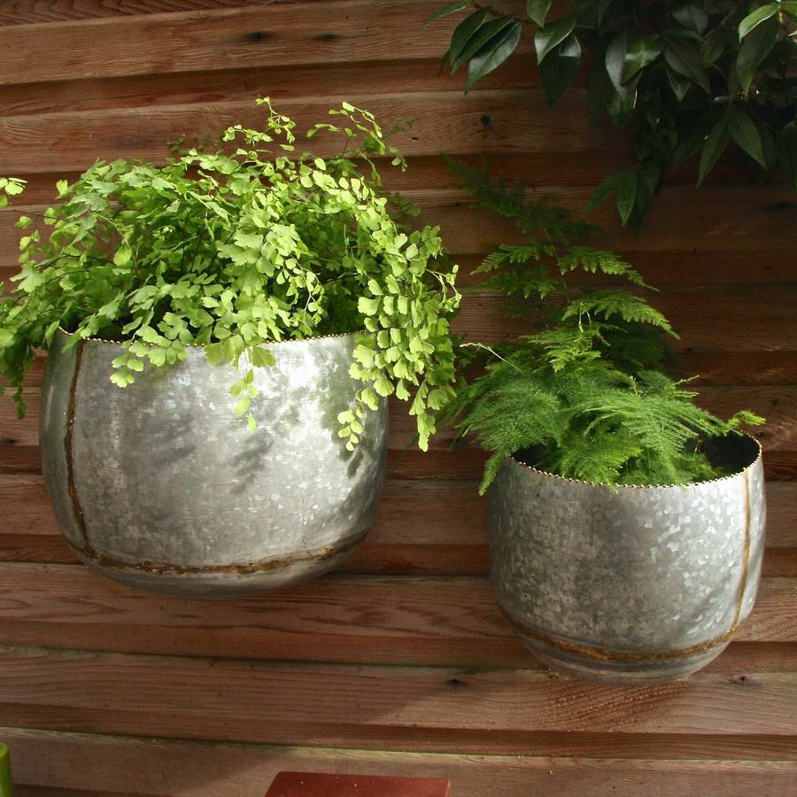 Set Of Two Zinc Bowl Wall Planters By London Garden Trading