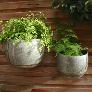 Set Of Two Galvanised Steel Bowl Wall Planters