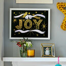 Joy Gold Foil Typographic Christmas Print, Unframed