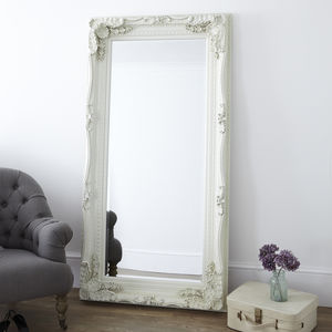 Cream Carved Floor Standing Mirror - living room