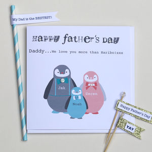 Happy Father's Day / Step Dad Penguin Card - personalised cards