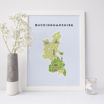 Map Of Buckinghamshire Print
