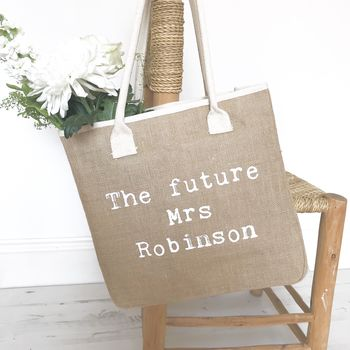 The Future Mrs Bride Wedding Jute Tote Bag