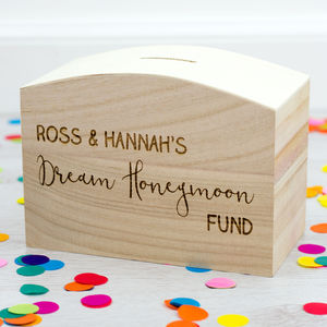 Personalised Honeymoon Money Box Engagement Gift