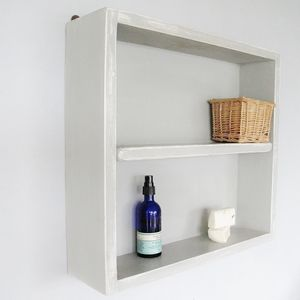 Vintage Wooden Painted Bathroom Wall Unit - shelves