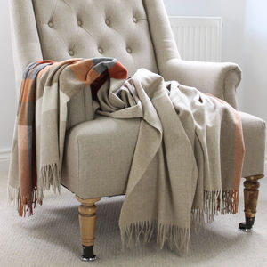 Orange And Beige Stripe Wool Throw