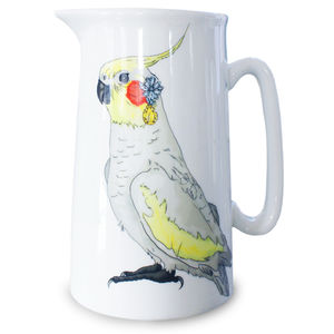 Cockatiel Illustrated Jug - table decorations