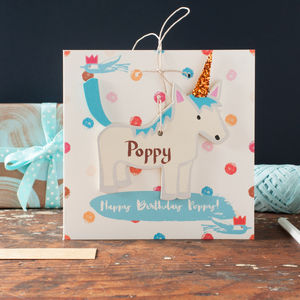 Personalised Unicorn Decoration Birthday Card - birthday cards