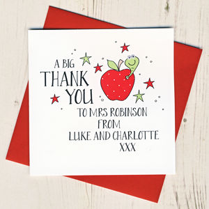 Personalised Teacher Thank You Card With Wobbly Eyes