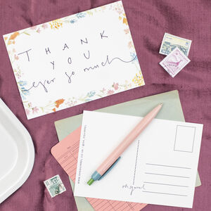 'Thank You Ever So Much' Floral Illustration Postcard