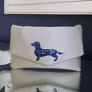 Dachsund Glitter Clutch Choose Your Colours - clutch bags