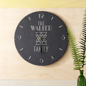 Personalised Slate Clock Family - baby's room