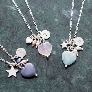 Maya Stone Heart Personalised Silver Necklace - stocking fillers for her