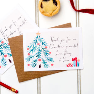 Five Personalised 'Thank You For My Present' Cards - new in christmas