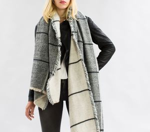 Personalised Charcoal To Stone Checked Blanket Scarf - gifts for her