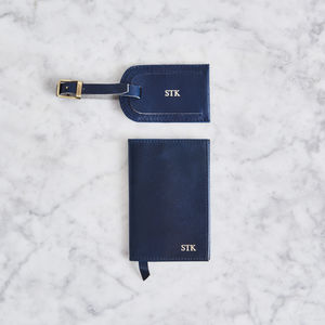 Matching Leather Passport Cover And Luggage Tag Set