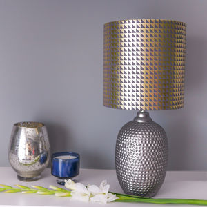 Geometric Lampshade In Pewter Grey And Gold