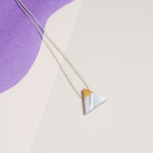White Marbled Triangle Necklace - necklaces & pendants