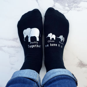 Personalised Elephant Family Socks - summer sale