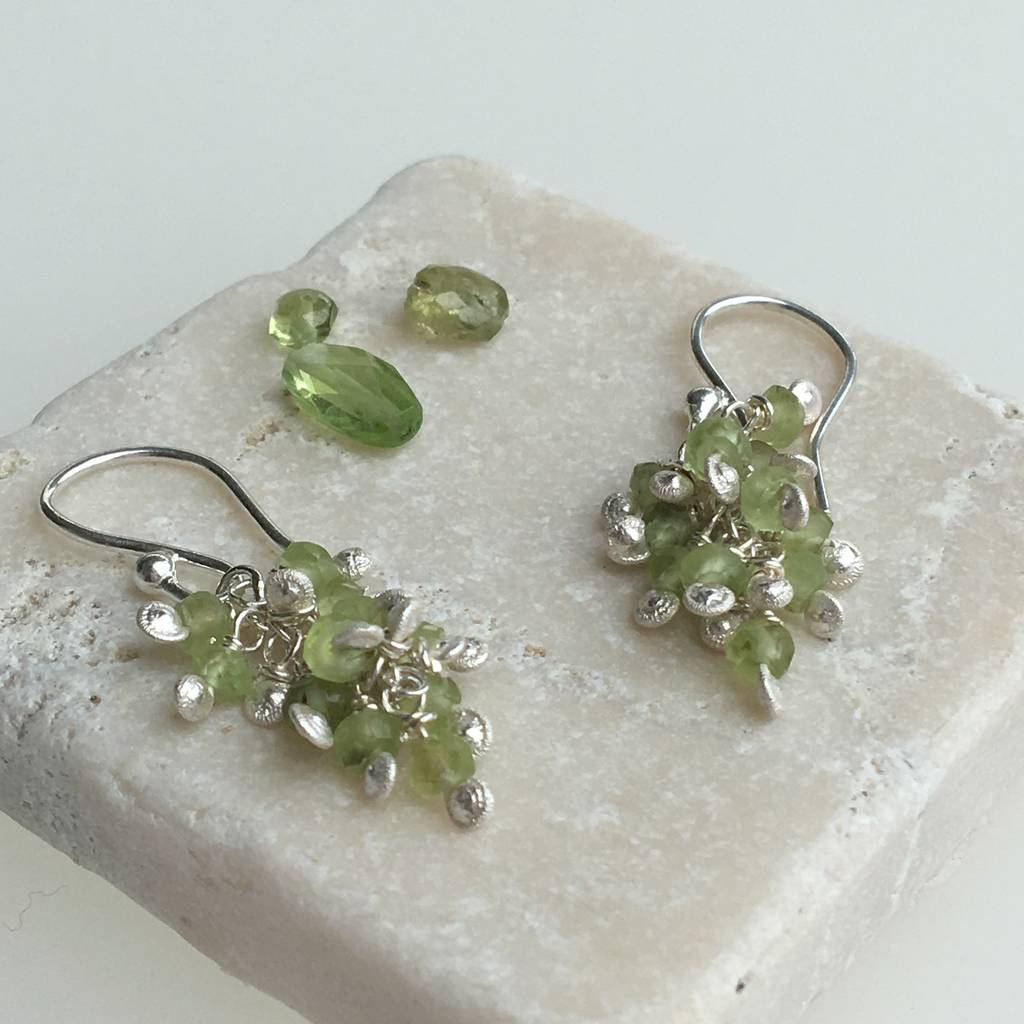 Silver Earrings With Silver Granules And Peridots
