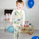Personalised Dinosaur Colour In Pyjamas With Pens