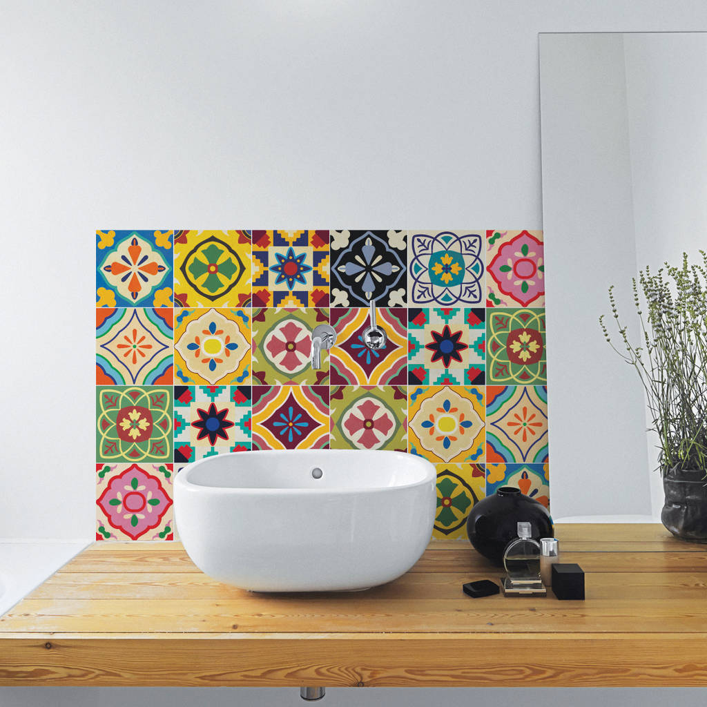 tiling a small bathroom talavera tile decal sticker set pack of 24 by sirface 20961