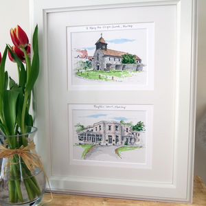 Double Wedding Venue Illustration - canvas prints & art