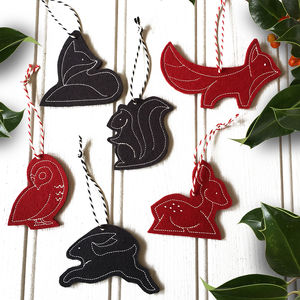 Felt Woodland Animal Christmas Tree Decorations