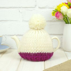 Personalised Two Cup Colour Block Tea Cosy