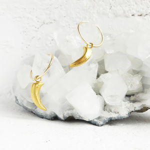 Gold Fox Claw Hoop Earrings