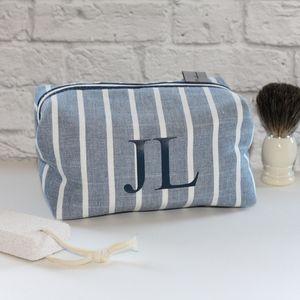 Men's Personalised Chambray Stripe Boxy Wash Bag