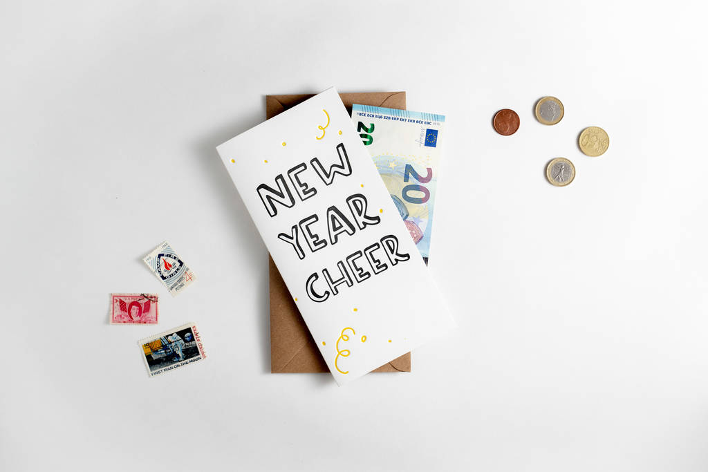 new year cheer letterpress money wallet card