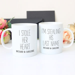 Personalised 'I Stole Her Heart' Wedding Mug Gift Set