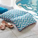 Blue Chevron Outdoor Cushion
