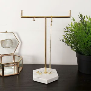 Marble Gold Jewellery Stand Tree Organiser