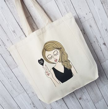 Personalised 'Miss Sassy Tote Bag With Initials