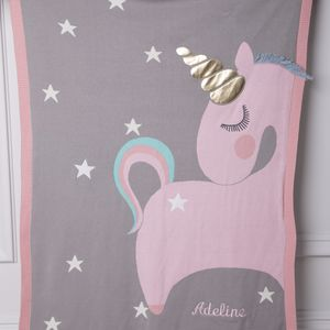 Personalised Pink And Grey Unicorn Baby Blanket